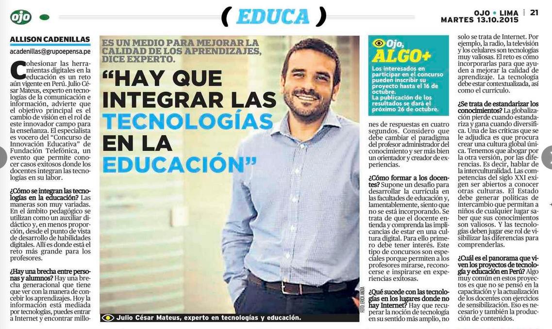 Publicado en Diario OJO 13 octubre 2015